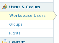 Workspace Users section in the workspace's administration section replacing 'Registration' and 'Users'